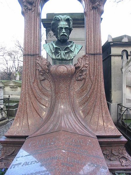 Могильный камень Золя на кладбище Монмартр, позже перемещённый в Пантеон