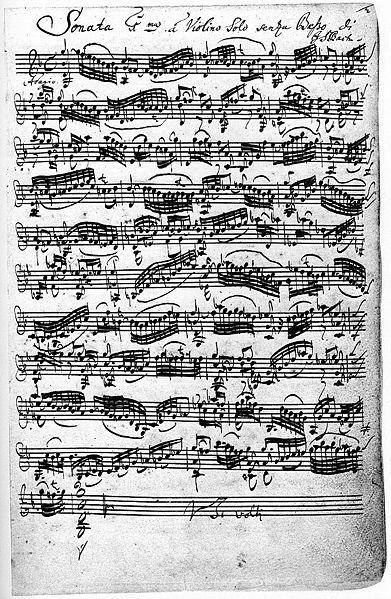 Соната для скрипки соль минор (BWV 1001), рукопись Баха