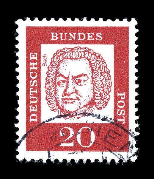 Почтовая марка ФРГ, посвящённая И. С. Баху, 1961, 20 пфеннигов (Скотт 829)
