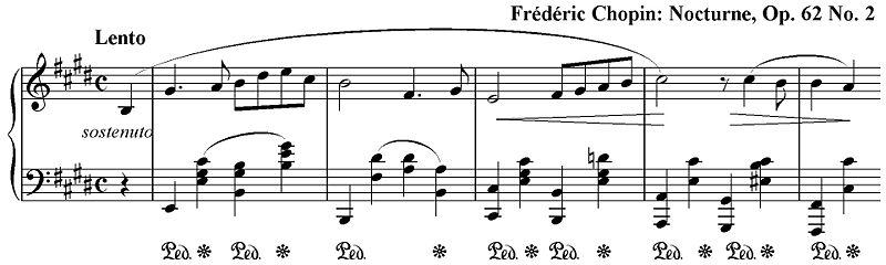 Начало «Ноктюрна» № 18 Фредерика Шопена Ми мажор, ор.62 № 2. Слушайте звуковой пример в формате MIDI: Первые такты.