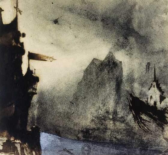 Фантастический пейзаж, навеянный скалами на Джерси. Рисунок Виктора Гюго